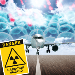 Free radicals caused by radiation from air travel